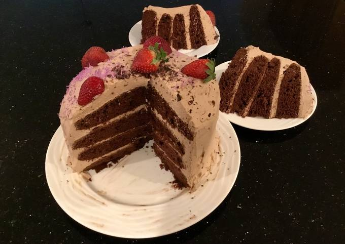 Chocolate Strawberry Cream Layer Cake