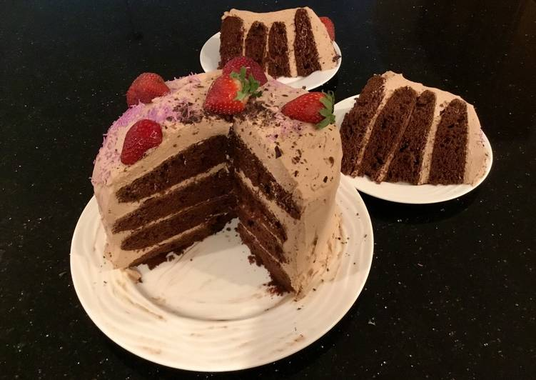 Chocolate Strawberry Cream Layer Cake