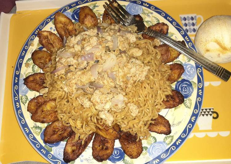 Noodles,egg and plantain