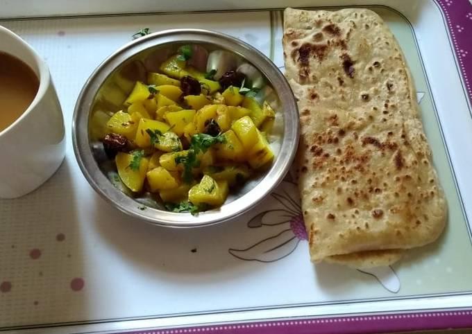 Breakfast with aloo ki sabzi
