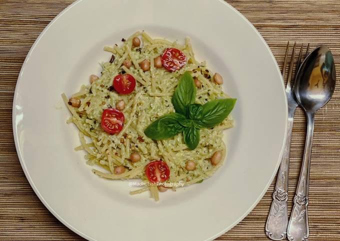 Nutty Asparagus Basil Pesto on Spaghetti