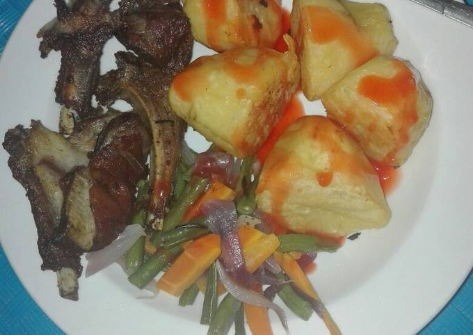 Pan grilled mutton ribs, Roasted potatoes with veggies