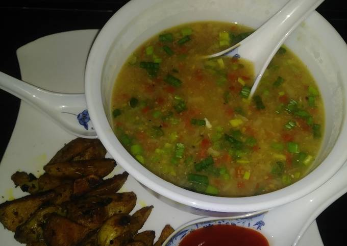 Sweet corn veg soup with roasted potatoes