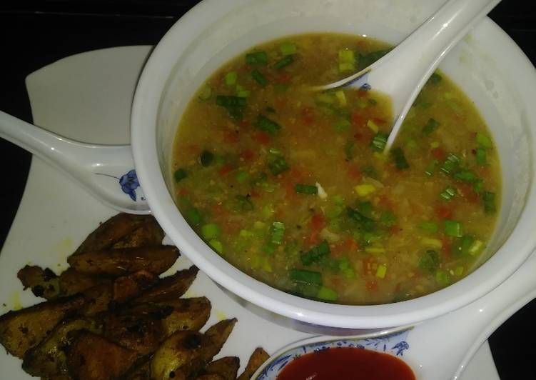 Sweet corn veg soup with roasted potatoes