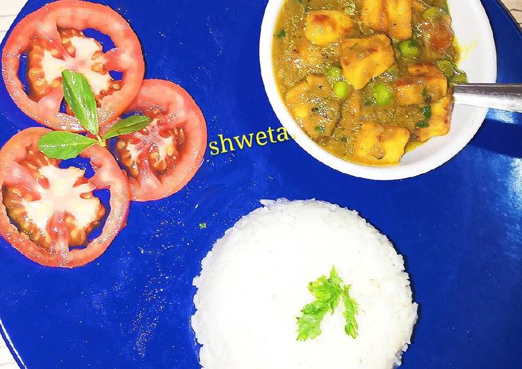 20 Minute Dinner Ideas Blends Matar paneer and rice.with tomato salad