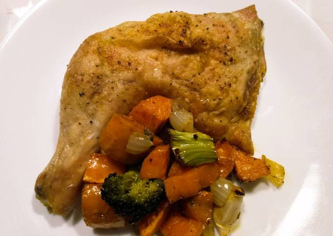 Super-moist roast chicken with yams and broccoli