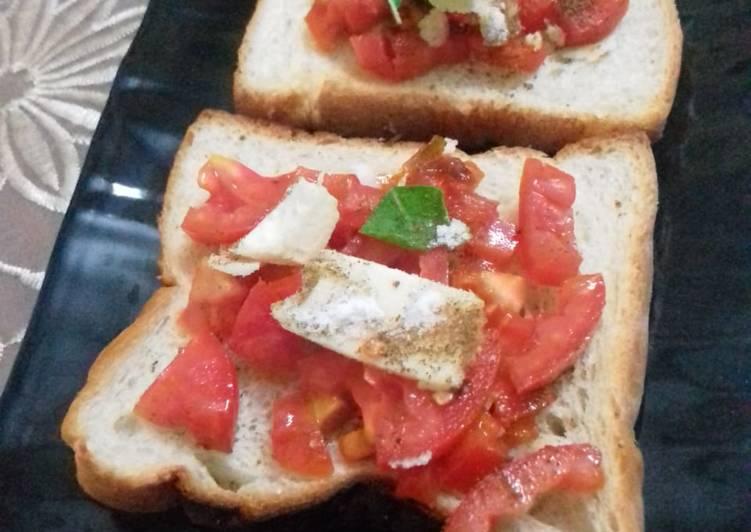 Bruschetta using bread