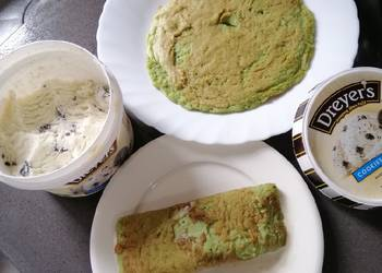 How to Make Appetizing Rolled Ice Pancake w Ice Cream