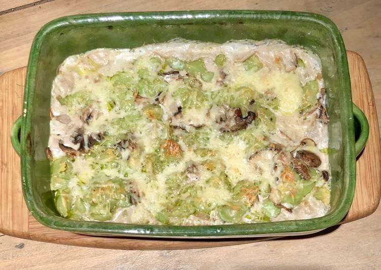 Gratin de ravioles aux champignons