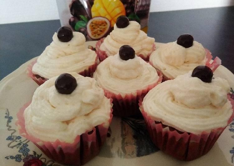 recette Cupcakes chocolat à la ganache au chocolat blanc pamplemousse Le plus simple