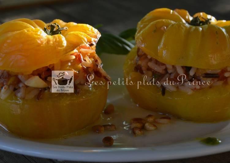 Tomates farcies végétariennes, aux 3 riz
