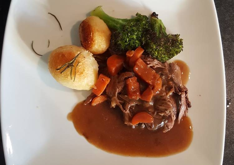 Slow Cooked Shredded Beef. Roast Spuds and Roasted Broccoli, Some Foods That Are Helpful To Your Heart