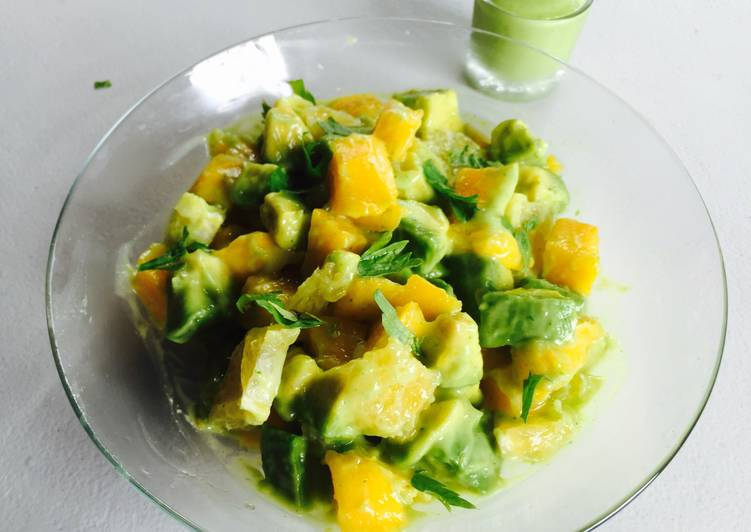 Avocado, Mango, Orange Salad tossed in an Avocado Salad Dressing