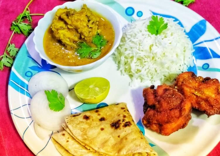 Dal Gosht, instant chicken 65 #Thali