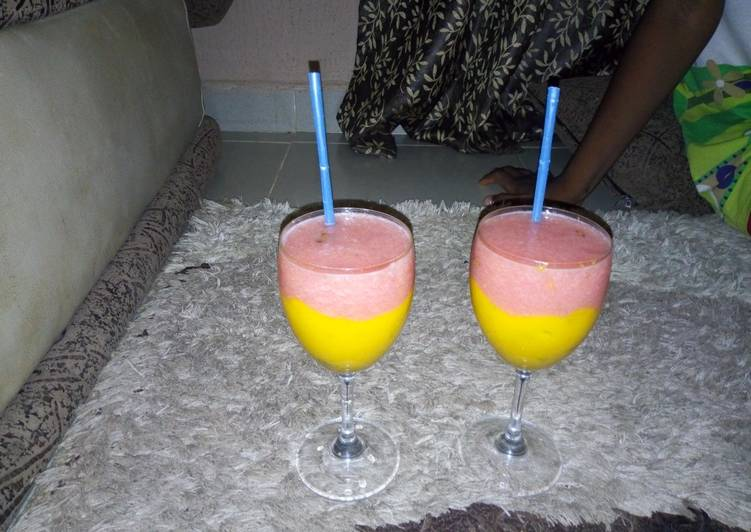 Mango and watermelon smoothies
