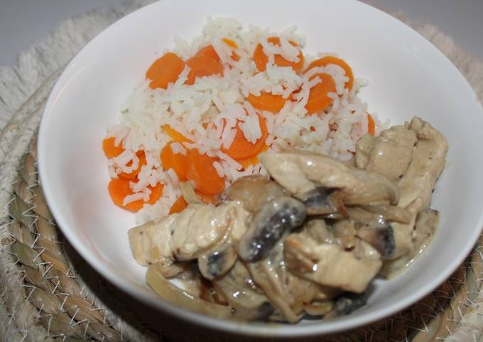 Sauté de dinde aux champignons & moutarde