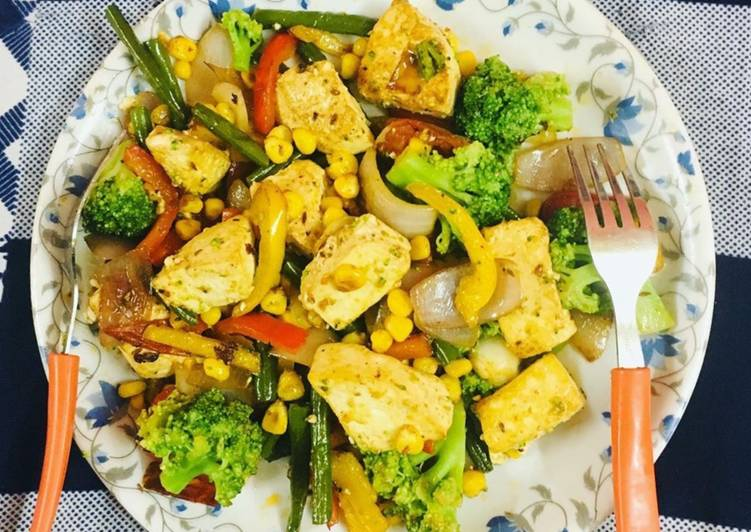 Sweet corn paneer and broccoli stir fry