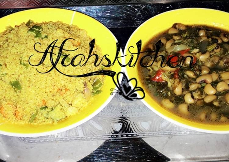 Fried vegetables cous-cous with beans and spinach soup