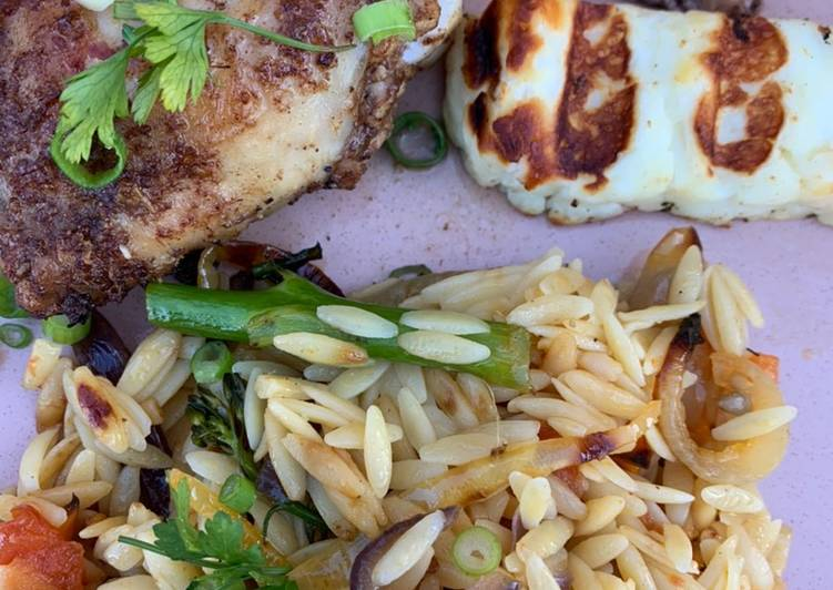 Recipe of Top-Rated Roast veg orzo and Chinese chicken