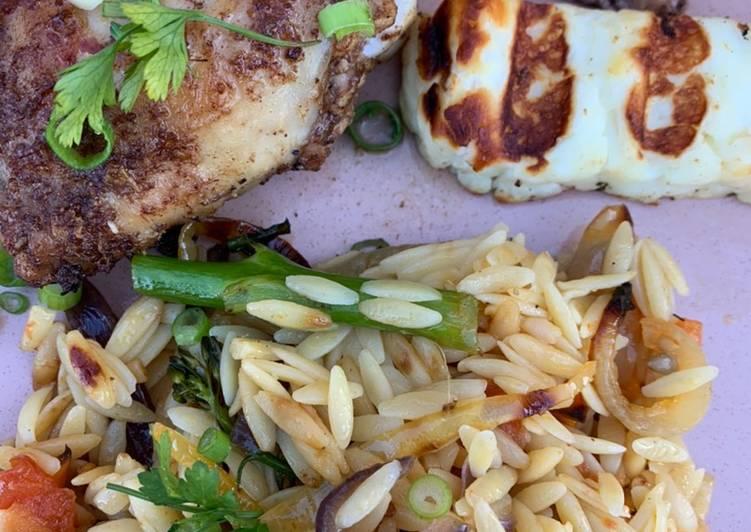 Roast veg orzo and Chinese chicken