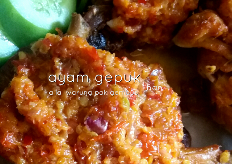 Ayam Gepuk Sambal Bawang a la Warung Pak Gembus