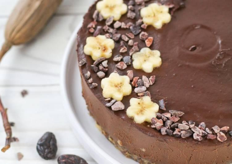 Recette Appétissante Gâteau végétalien cru au cacao, banane et avocat