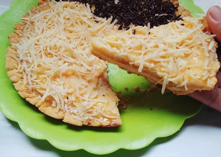 Pie Susu topping keju meses Teflon (No Mixer No Oven)