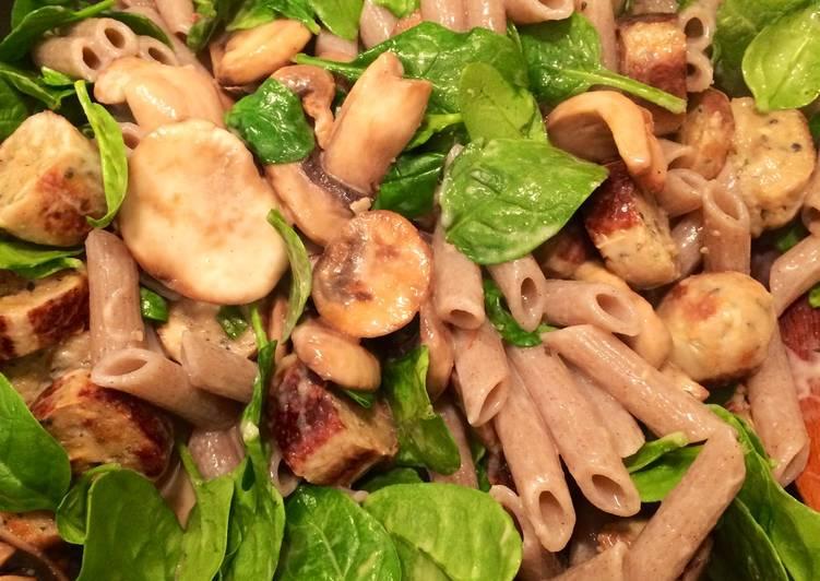 Steps to Prepare Homemade Speedy Mushroom & Sausage Pasta