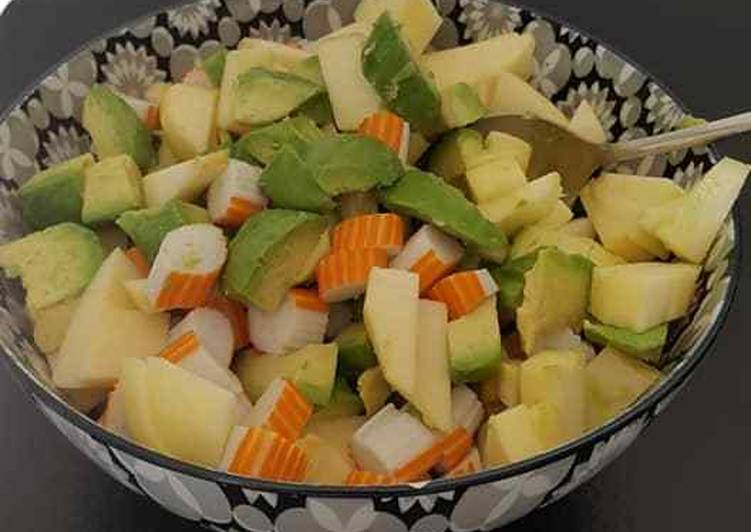 Salade avocat/surimi/pommes