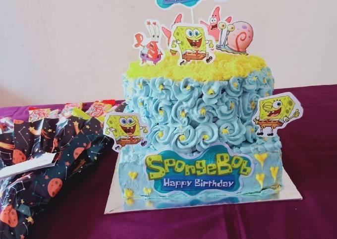 Base cake Kue tart kukus spongebob untuk jualan