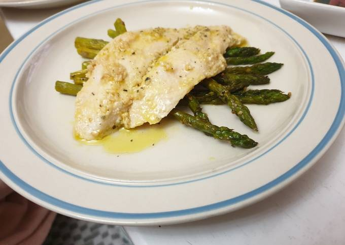Apple cider fish with asparagus