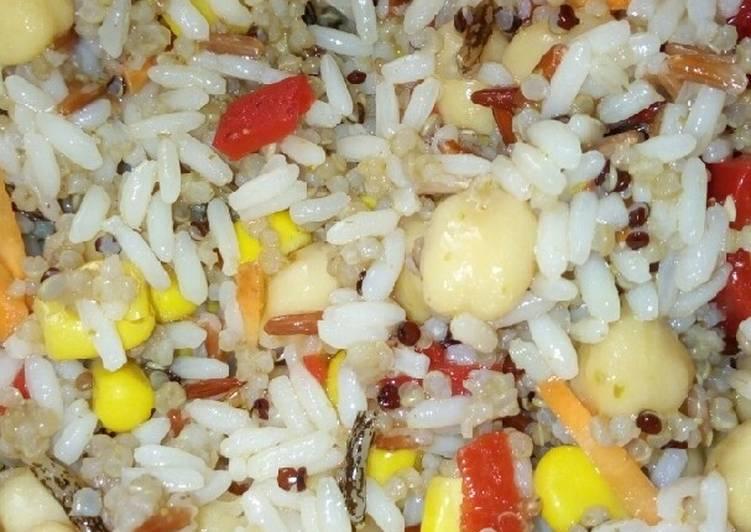 Receta: Delicioso Ensalada de garbanzos, quinoa y arroz