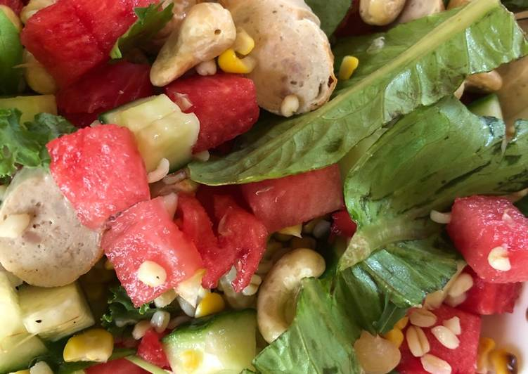 Watermelone and Grilled Sausages Salad