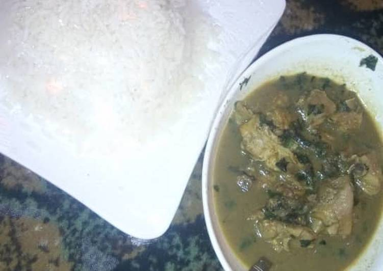 Boiled rice with peppersoup