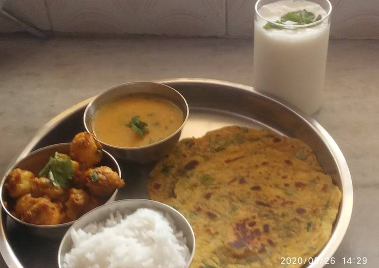 30 Minute Dinner Easy Refreshing Mini thali - arvi sabji,dal fry, methi thepla,rice & buttermilk