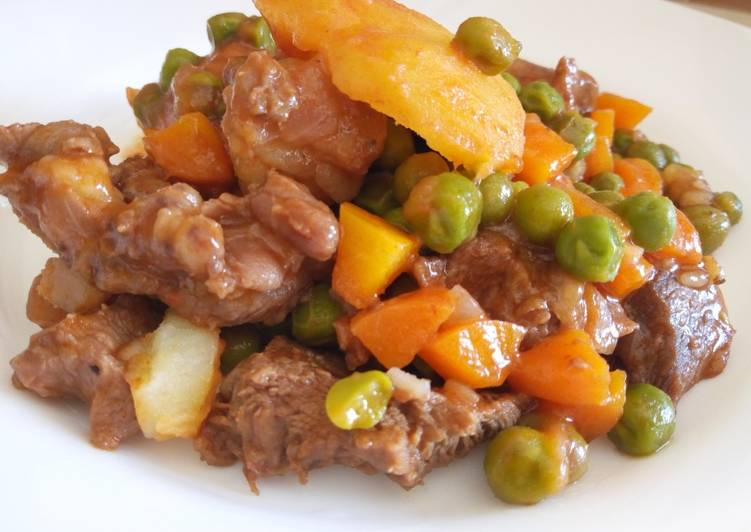 Recipe of Top-Rated Lamb, peas,and potato stew#OnePotMeals