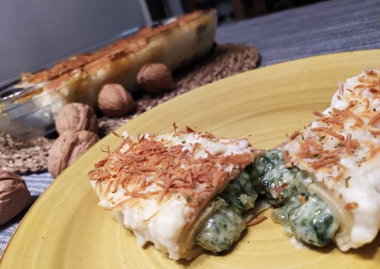 Crepes Gratinados (rellenos de espinacas, queso de cabra)