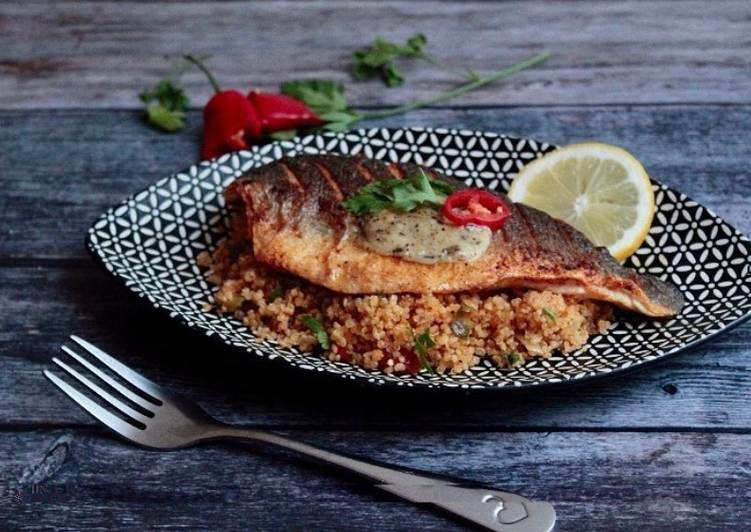 Simple Way to Make Favorite Spiced cous cous with seared seabass