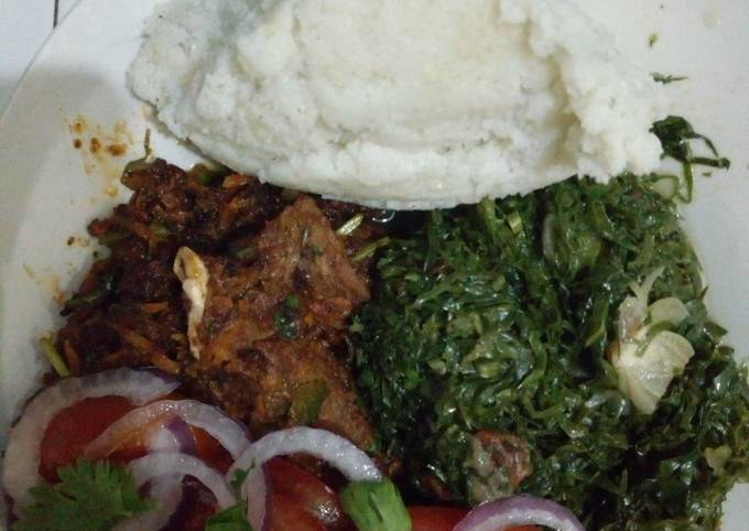 Ugali with# beef challege#fryand kales