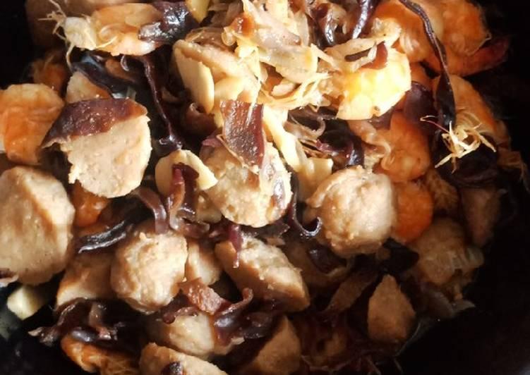 Bakso udang jamur saustiram