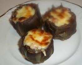 Alcachofas gratinadas con taquitos de Jamón serrano