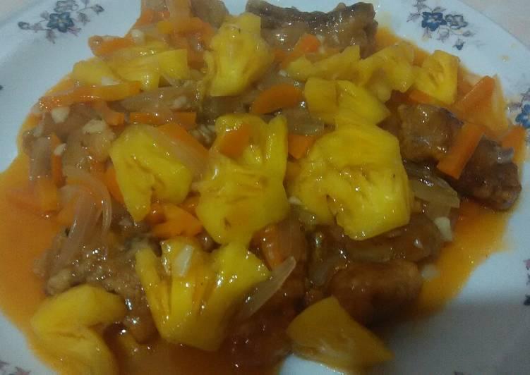 Ayam goreng tepung saus asam manis nanas #BikinRamadhanBerkesan