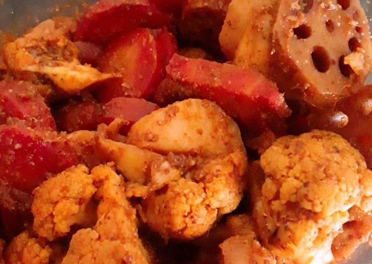 Recipe of Any-night-of-the-week Carrot cauliflower turnip ka mitha pickle