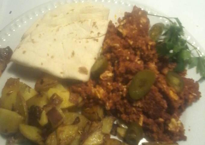 Chorizo and eggs,  garlic crunchy potatoes