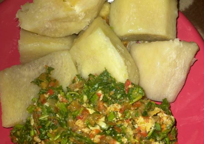 STEP-BY-STEP GUIDE!  How to Make Boiled yam with vegetable sauce
