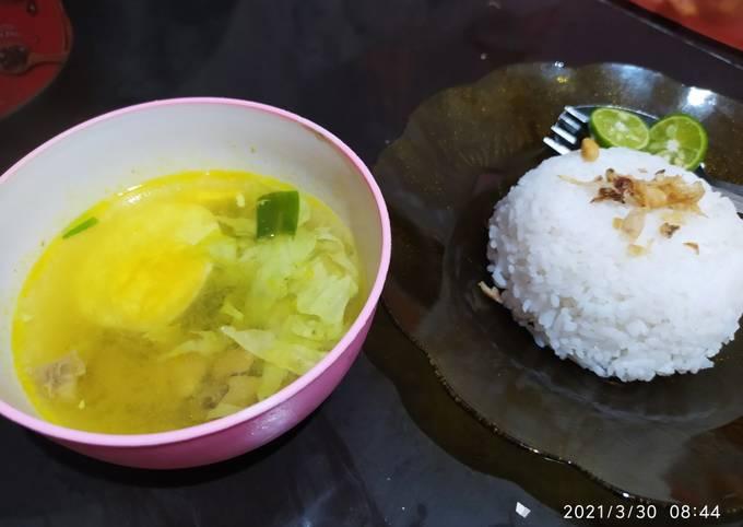 Langkah Mudah untuk Membuat Soto ayam & telur bumbu kuning, Lezat Sekali