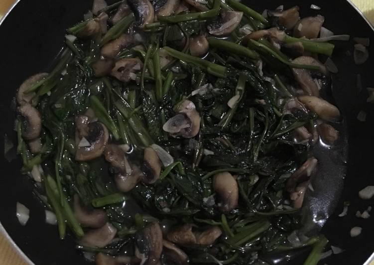 Tumis kangkung jamur bawang putih