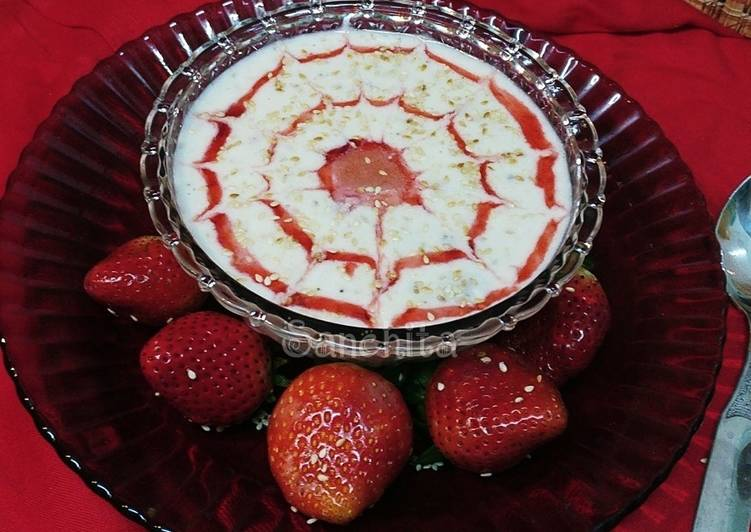Strawberry Flavoured Sesame Pudding