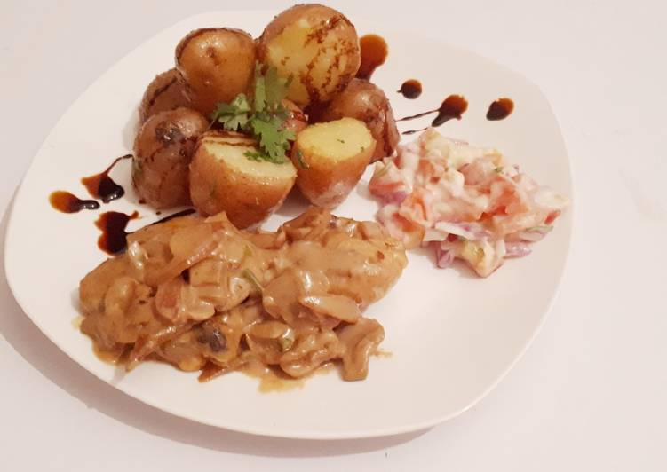 Jacket potatoes served with chicken in creamy soup, Finding Healthy Fast Food