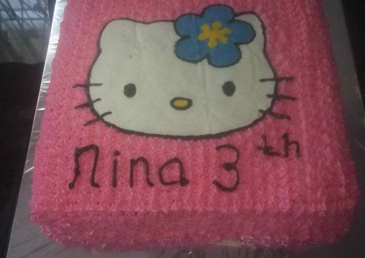 Resep Kue Ultah Hello Kitty Buttercream Transfer Oleh Mutiarisa Cookpad